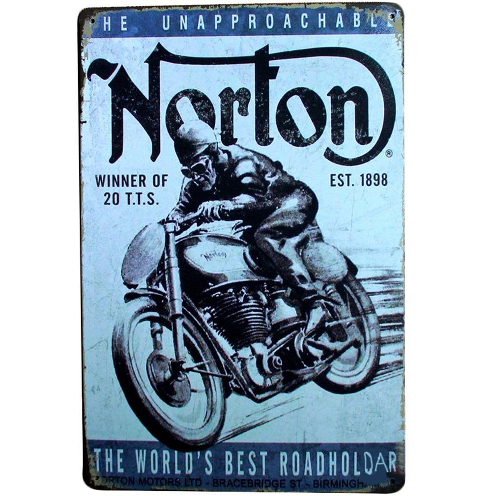 Shuda 1 Pc Vintage en M/étal Affiche Rectangle De Fer Peinture Moto Motif Art R/étro Photo pour La Maison Caf/é Boutique Bar 30 cm 20