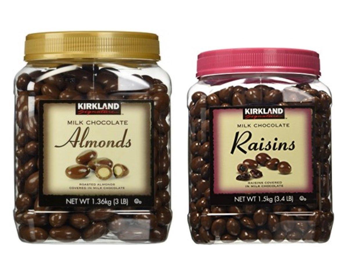Kirkland Signature Chocolate Roasted Almonds & Chocolate Raisin Bundle - Includes Kirkland Signature Milk Chocolate Roasted Almonds (3.0 LB) & Milk Chocolate Raisin (3.4 LB) by Kirkland Signature