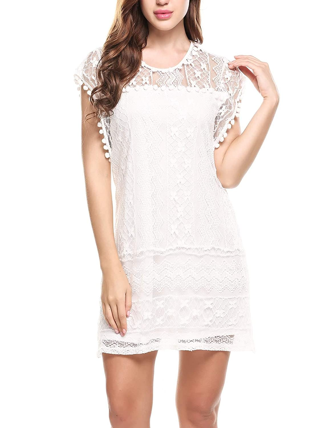 Meaneor Women Sheer Crew Neck Floral Lace Mini Party Cocktail Summer Dress #MAH010729