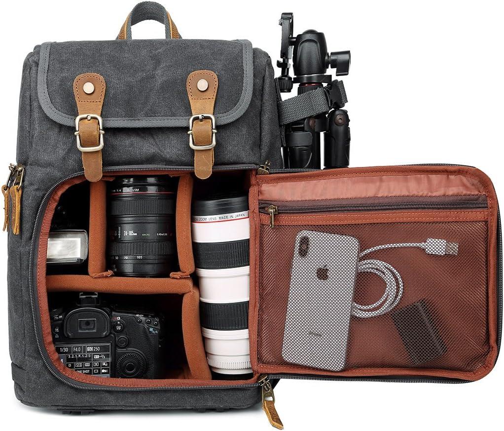 gro/ße Kapazit/ät wasserdicht Sto/ßd/ämpfung f/ür SLR-//DSLR-Kameras Kamerarucksack Rei/ßverschluss vorne professionelle Kameratasche f/ür unterwegs