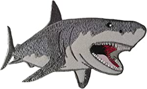Megalodon Big Tooth Shark Embroidered Patch DIY Iron-on or Sew-on Decorative Badge Emblem Vacation Souvenir Travel Gear Clothes Appliques Meg Great White Sharks Dolphins Whales Ocean Life Jaws