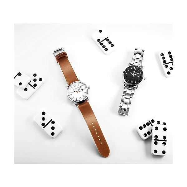RELOJ STUHRLING PARA HOMBRE -  Estuche de cuero marrón original de Stuhrling con esfera blanca, estilo vintage, caja de 38 mm con fecha - Colección de relojes 3901