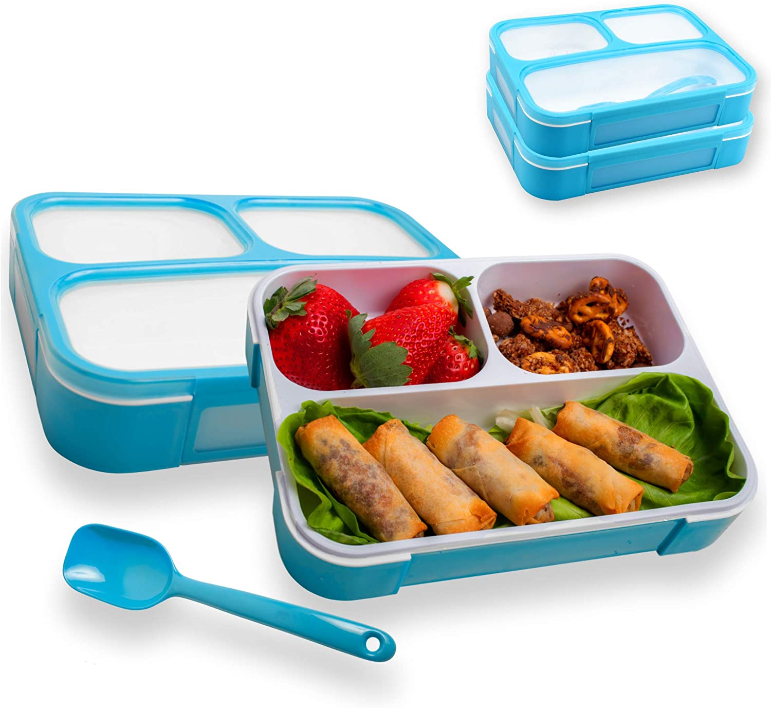 Leakproof Bento Lunch Box With 3 Compartments   New Food Prep & Meal Planning Containers For Kids & Adults   BPA Free Leak Proof Bento Lunch Boxes   Microwave & Freezer Safe By Easy Togo (Blue 2 Pack)