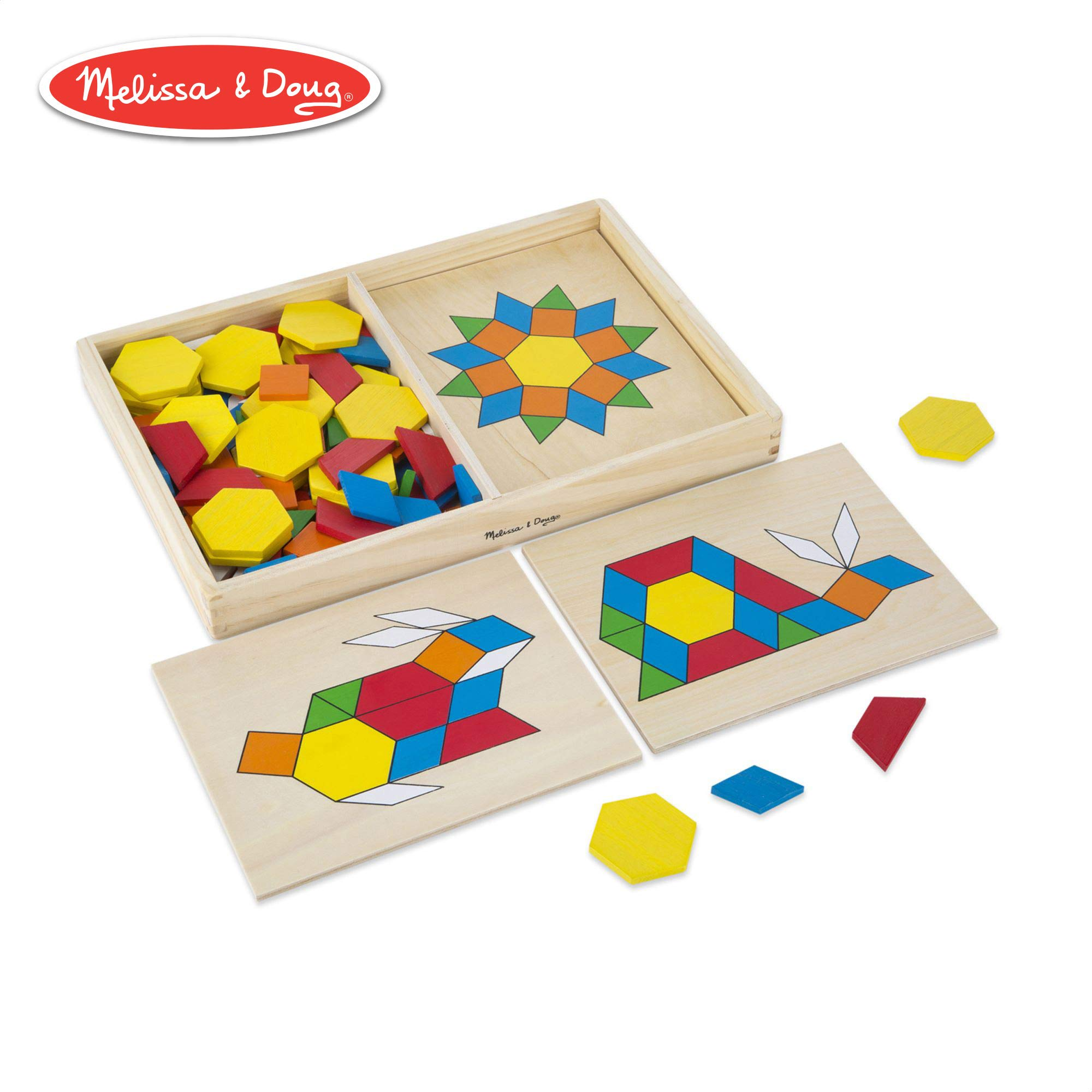 Melissa & Doug Pattern Blocks and Boards Classic Toy (Developmental Toy, Wooden Shape Blocks, Double-Sided Boards, 120 Shapes & 5 Boards) by Melissa & Doug