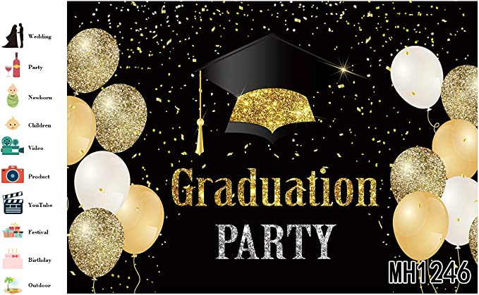 10x10FT Senior Prom 2019 Background for Photography Golden Sequins Glitter Prom Decorations Graduation Season School Themed Grad Students Senior Prom Party Backdrop Studio Photobooth Props