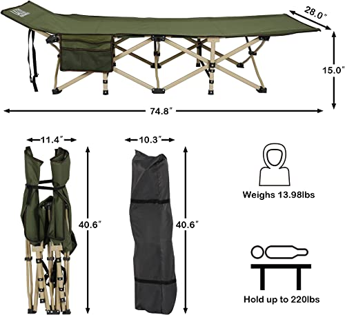LAZZO Folding Camping Cots for Adults Heavy Duty, 75 Long 28 Wide Sturdy Portable Sleeping Cot for Camp Office Use