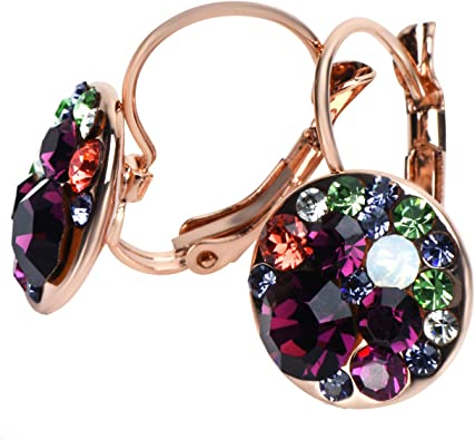 A PAIR GOLD PLATED DANGLY PURPLE  GLASS PEARL LEVERBACK HOOK EARRINGS NEW.