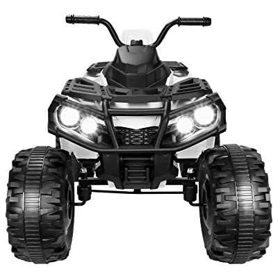 Amzchoice Electric Kids ATV 12V Battery Powered Kids 4-Wheeler ATV Quad with LED Headlights Music and MP3 Ride-on Toy (White): Toys & Games