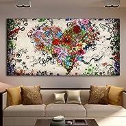 Corazones Flores Pintura Arte abstracto Lienzo Pintura Arte de la pared Para la sala de estar Dormitorio Cuadros decorativos