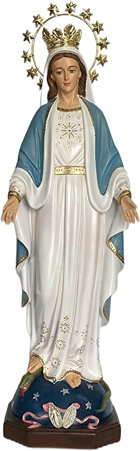 Amazon Com Our Lady Of Grace Blessed Virgin Mother Mary Catholic Religious Gift 24 Inch Statue Figurine With Crown Halo Kitchen Dining