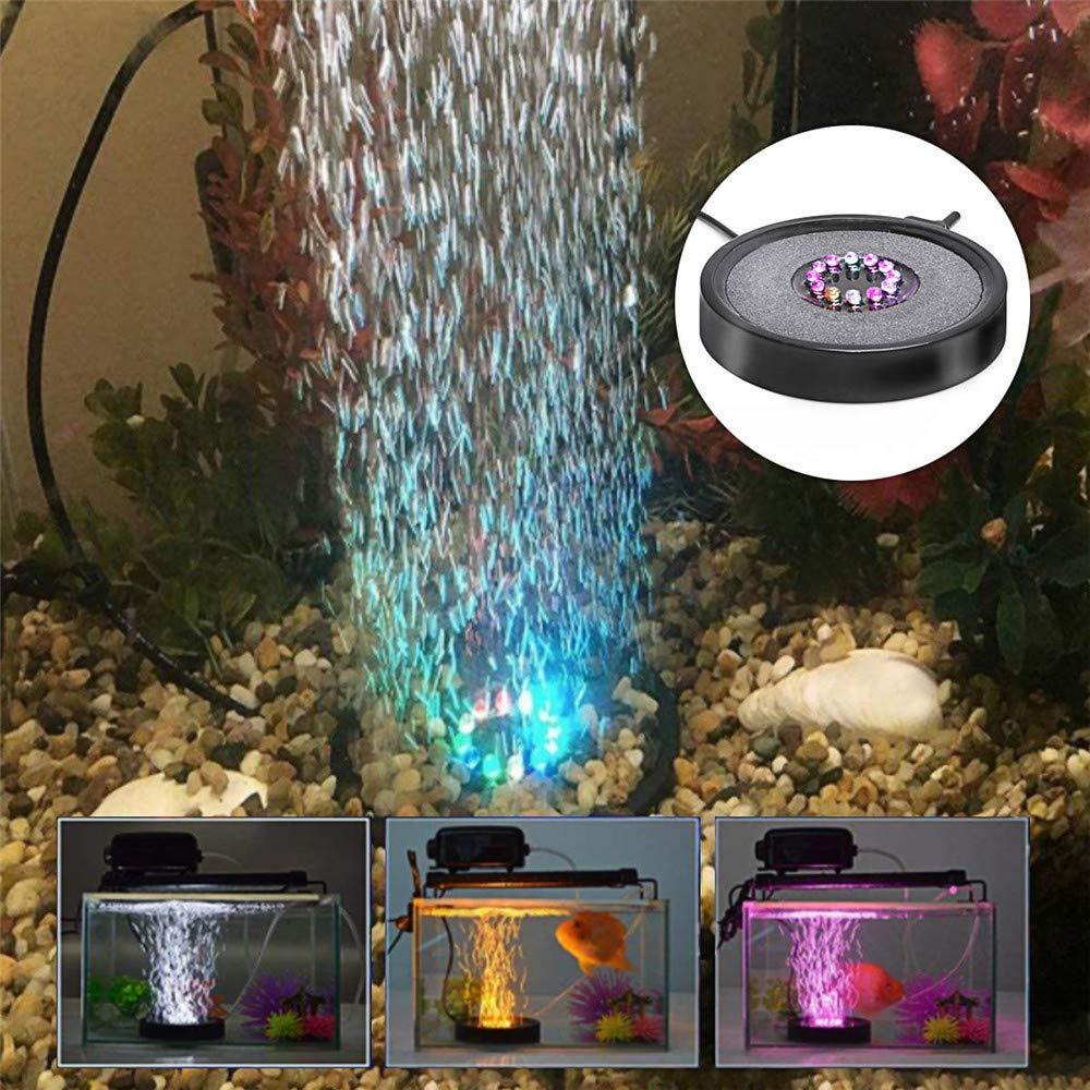 DIYARTS Disco de Piedra de Aire para Acuario LED Redondo Color Fish Tank Difusor de Burbuja de Piedra de Aire con Cambio autom/ático de Color de 12 LED Enchufe de la UE