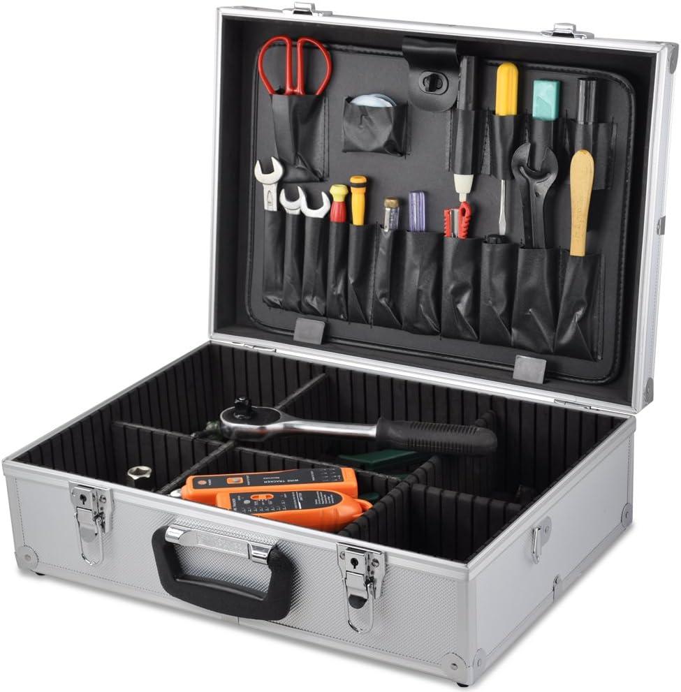SWT de electricista de viaje de aluminio con cristal de seguridad organizadora con caja de almacenamiento caja de herramientas: Amazon.es: Bricolaje y herramientas