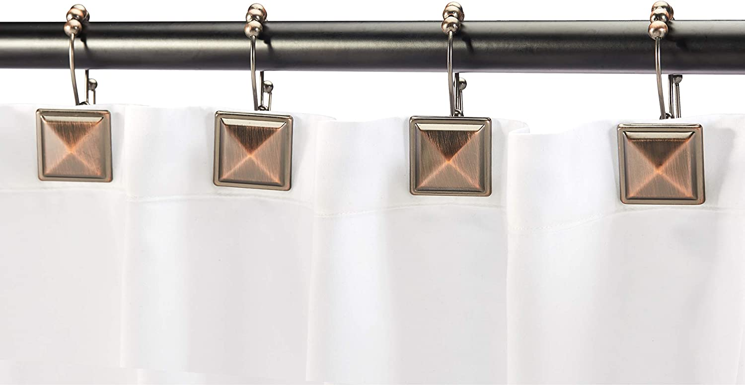 Oil-Rubbed Bronze Basics Shower Curtain Hooks Hammered Circle