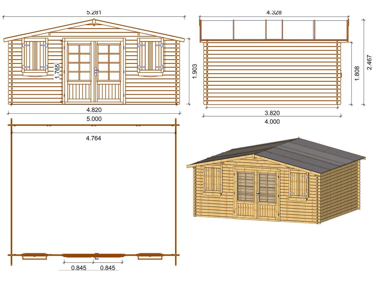 28 mm Habitat et Jardin 22.80 m² 5.26 x 4.32 x 2.46 m Abri jardin bois traité autoclave