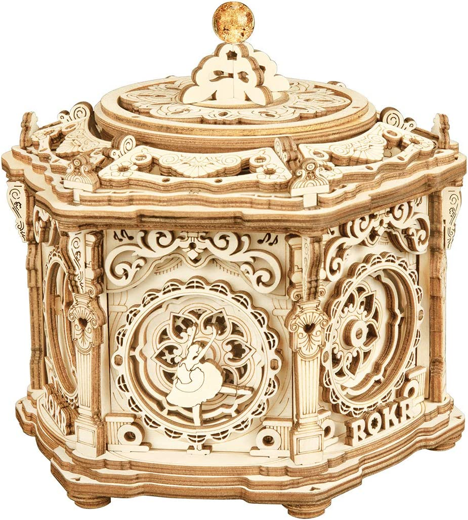 ROKR 3D Wooden Puzzle Musical Jewelry Box(Secret Garden) - DIY Vintage Music Box Keepsakes Storage, Stunning Gifts for Girls/Boys/Woman/Man