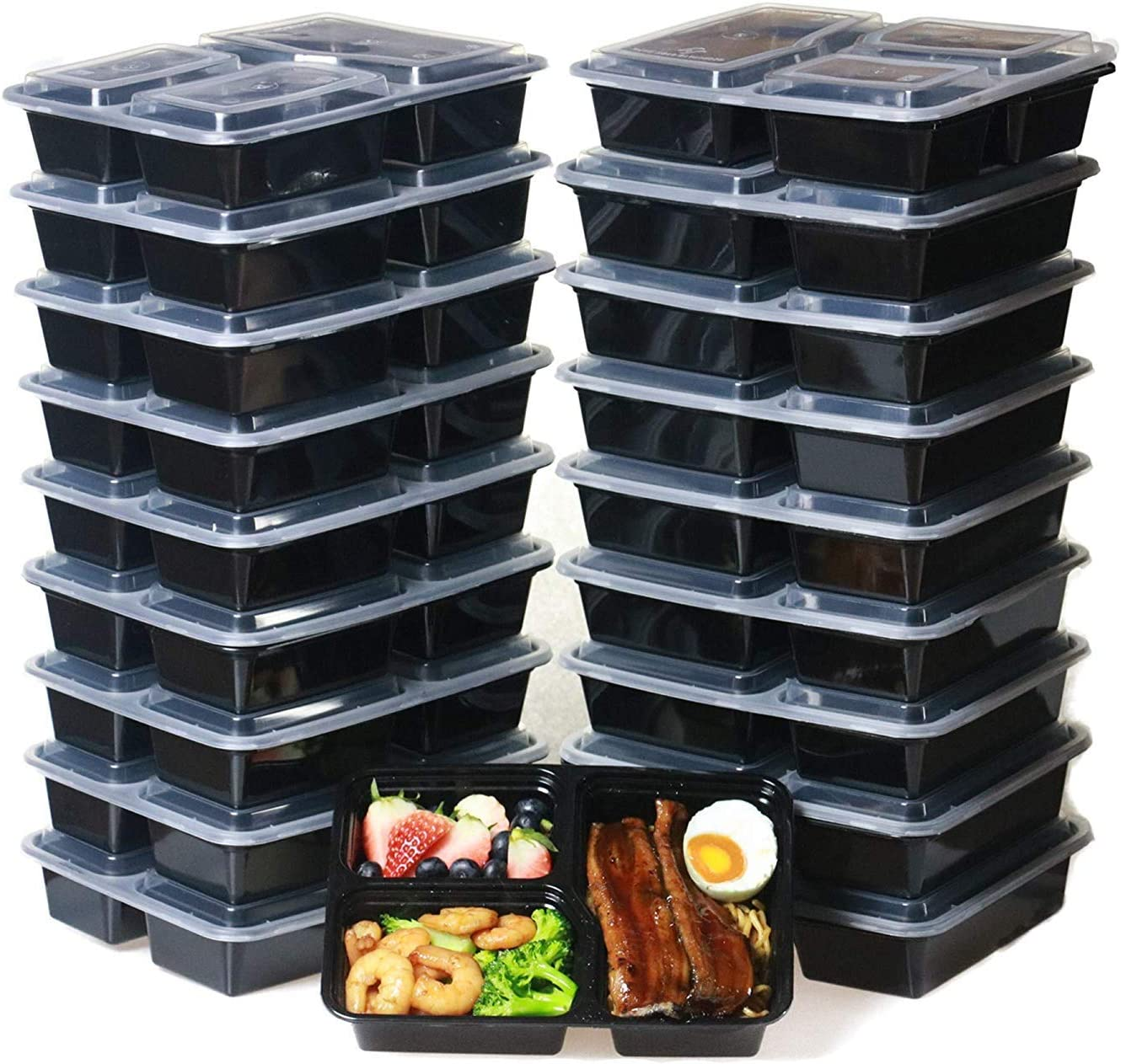 Meal Prep Containers 3 Compartment [20 Pack] Bento Lunch Box Food Containers BPA Free/Leak Proof/Microwave & Freezer Safe, (Black) (32 OZ)