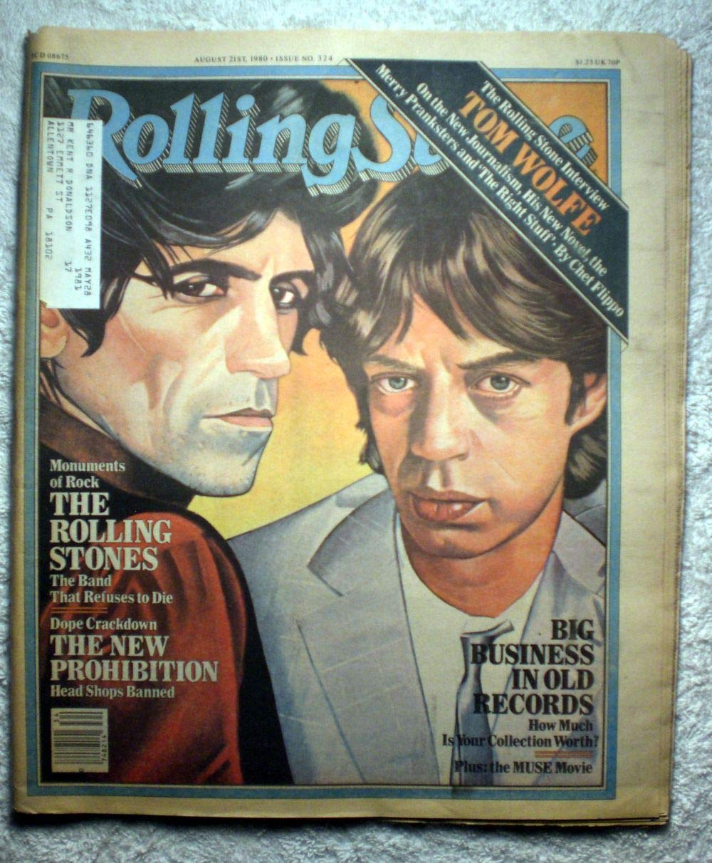 Mick Jagger & Keith Richards - The Rolling Stones - Rolling Stone Magazine - #324 - August 21, 1980 - Marijuana: The New Prohibition - Head Shops Banned, Pricing Your Old Record Collection (LPs) articles