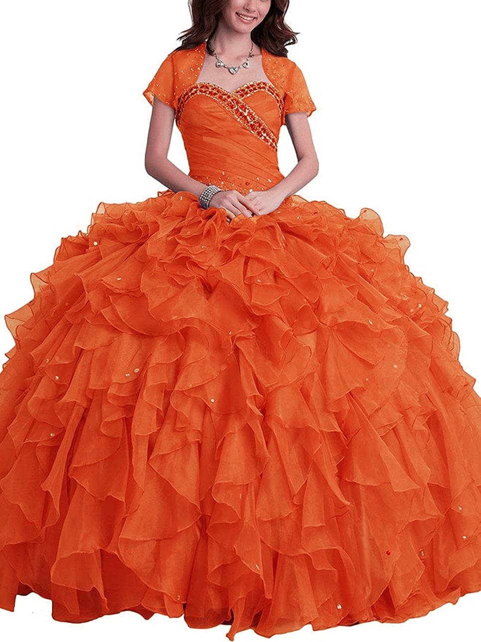 orange SDRESS Women's Rhinestones Sweetheart Ball Gown Tulle Quinceanera Dress with Wrap