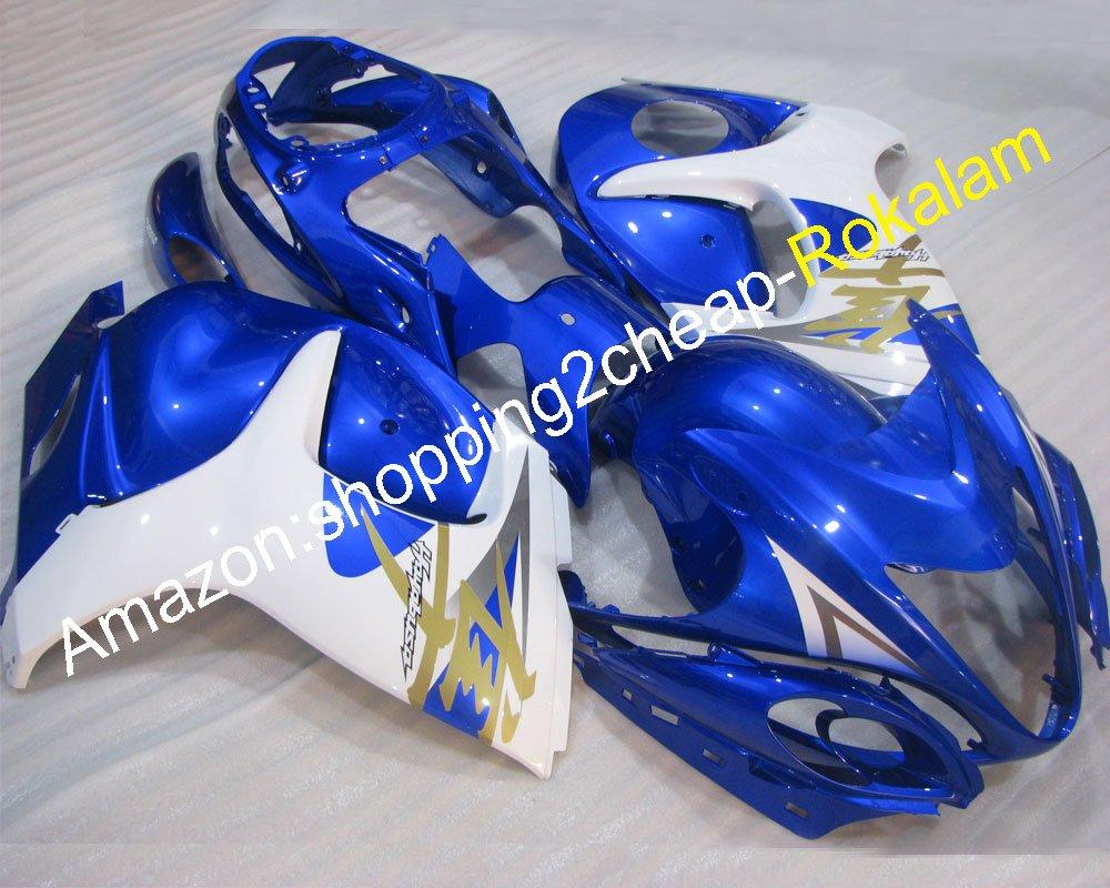 ホットセールス、GSXR 1300 フェアリング ために スズキ GSXR1300 GSX-1300 Hayabusa 2008 2009 2010 2011 2012 2013 2014 2015 2016 青 ホワイト フェアリング (射出成形)   B07C1HXLGW