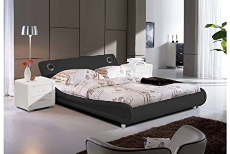 DreamGirl Madrid cama con altavoces Bluetooth, color negro, tamaño de matrimonio