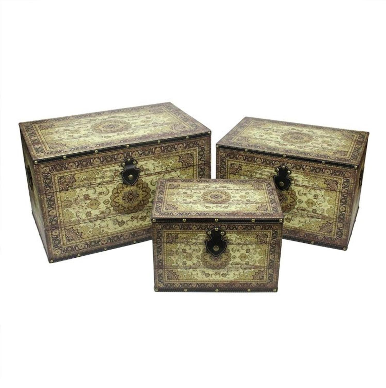 Northlight Set of 3 Oriental-Style Earth Tone Decorative Wooden Storage Boxes, 22'', Brown/Cream