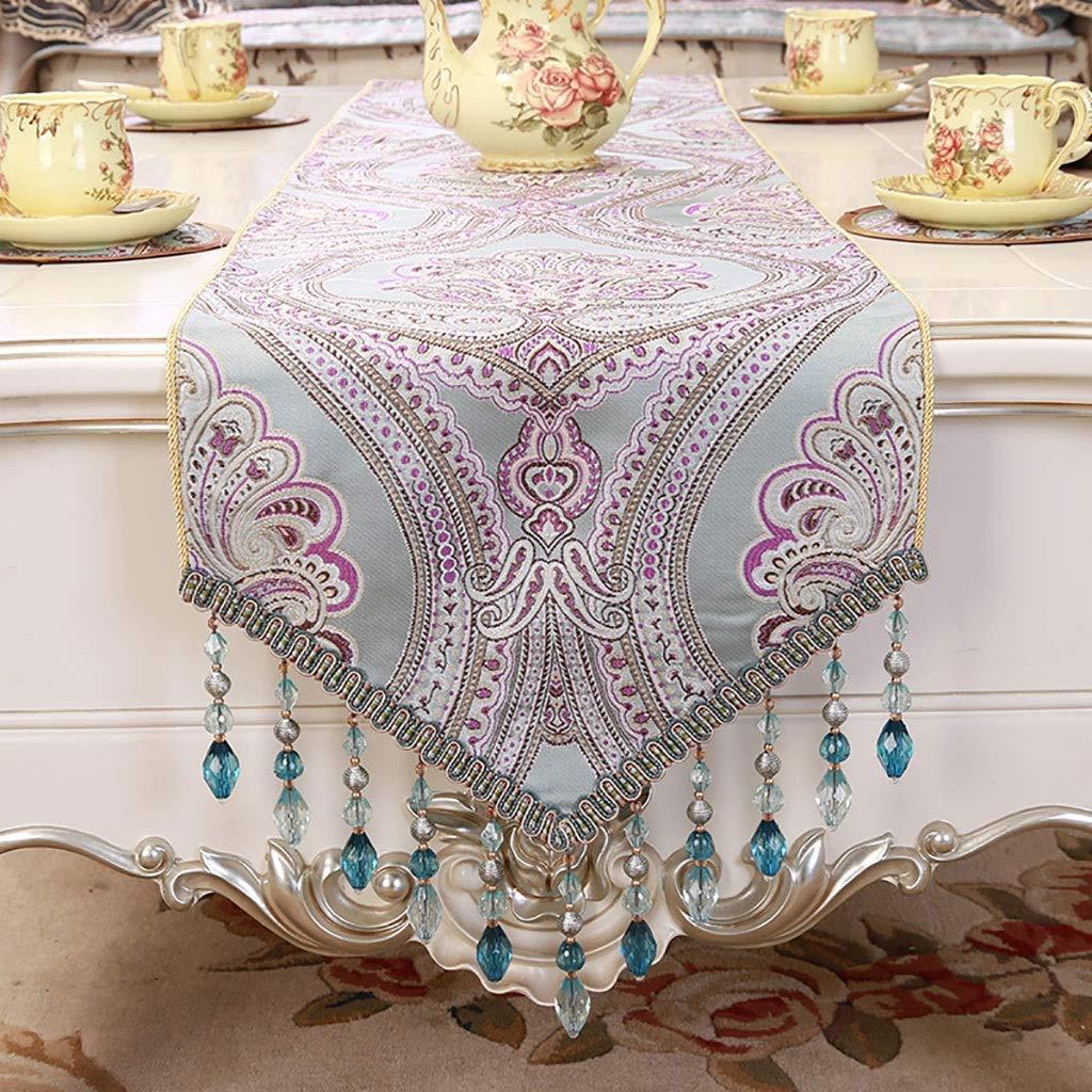 テーブルランナー、ホームキッチンのダイニングテーブルの装飾のための手作りのHemstitched天然長方形レーステーブルランナー、(色:PURPLE、サイズ:35 * 220 cm)   B07SGJ8VH1