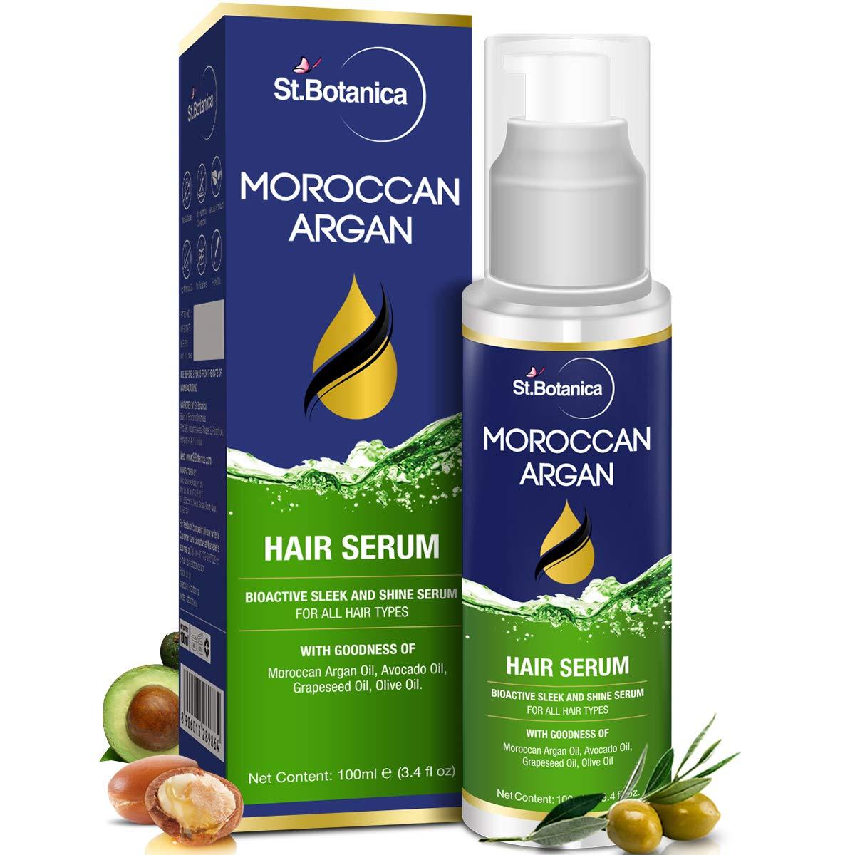 StBotanica Moroccan Argan Hair Serum - Nourishing and Frizz Control Serum (With USDA Organic Argan Oil) 100ml product image