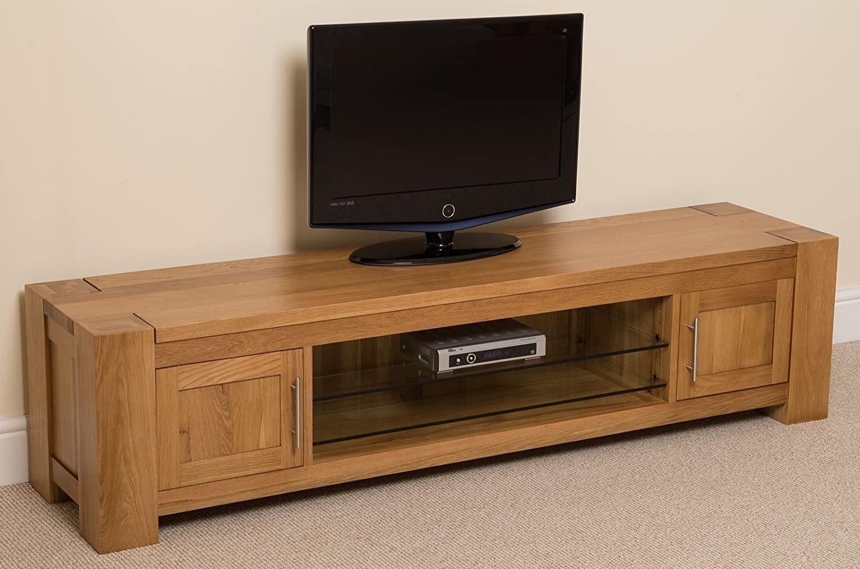 Mueble de madera de roble macizo y vidrio para televisor de pantalla ancha; 181,5 x 44,5 x 42,5 cm (largo x alto x ancho): Amazon.es: Hogar