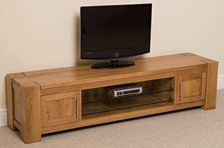Kuba Chunky Solid Oak Wood Glass Widescreen TV Cabinet Unit 1815 L X 445