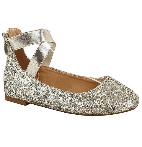 e6da2f2f1d18e Women's Classic Glitter Ballerina Flats with Elastic Crossing Straps Casual  Yoga Ballet Slip On Loafer Shoes