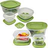 Rubbermaid 12pc Set Of Produce Saver Plastic Food Storage Containers With Lids & Fresh Vent for Breathability