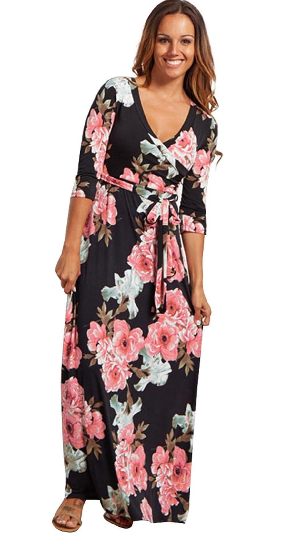 801474234f382 Landove Vestito Lungo Elegante Donna Cerimonia Abito Maniche 3  4 ...
