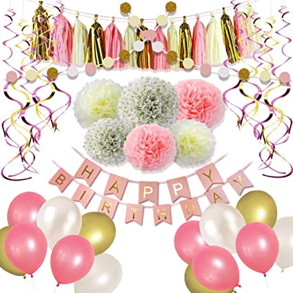Litaus Girls Birthday Decorations Pom Poms Flowers Kit Tassels and Balloons for 1st Birthday Girl Decorations Kids Birthday Hanging Birthday Banner Paper Garland