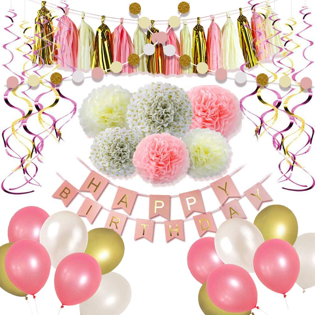 Happy Birthday Party Decorations Supplies- Gold and Pink Balloons, Pom Poms Flowers, Birthday Banner, Paper Garland, Tassels, Hanging Swirl for 1st Birthday Girl Decorations Kids Birthday Set(48 pcs)