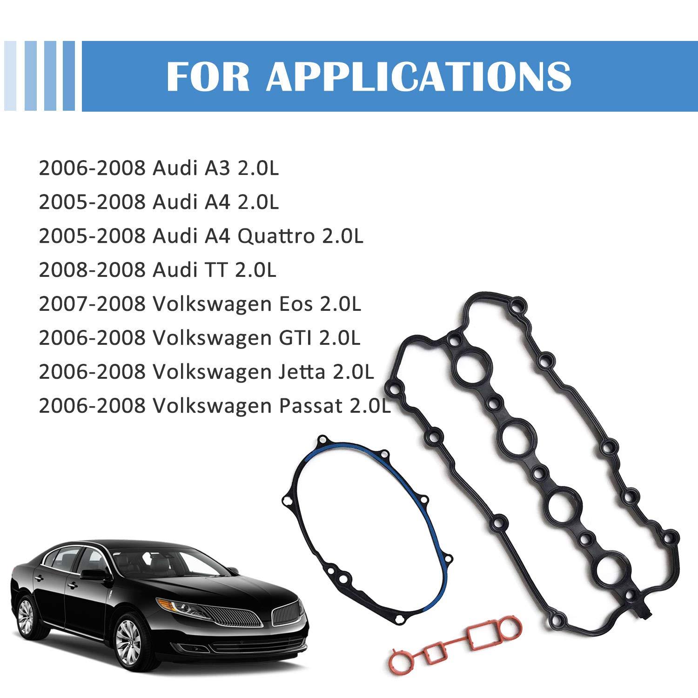 Donepart Valve Cover Gasket Set VS50685R for Volkswagen Passat Jetta GTI Eos Audi A4 A3 TT 2.0L Turbo 2005 2006 2007 2008
