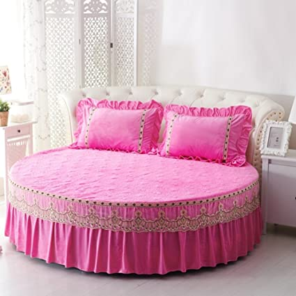 Round Coverlet Single Piece,Thicken Plus Cotton Bed Cover Soft Bed Sheets  Crystal Velvet Bed