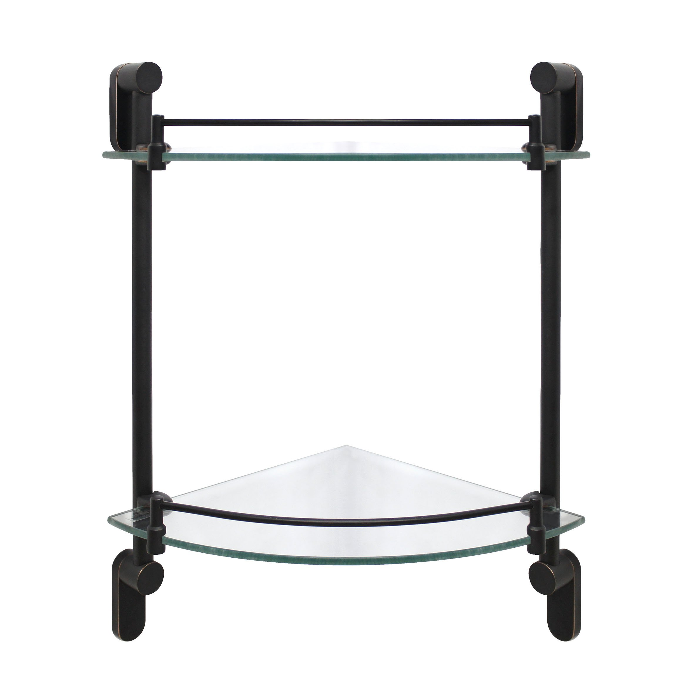 MODONA Double Corner Glass Shelf with Rail – Rubbed Bronze – Oval Series - 5 Year Warrantee