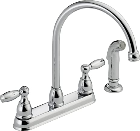 Delta Faucet 21988LF Two Handle Kitchen Faucet with Spray, Chrome ...