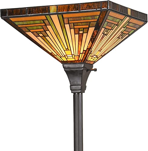 Artzone Tiffany Floor Lamp Torchiere, Stained Glass Lamps, Tiffany Floor Lamps for Living Room, Tiffany Styled Torchiere Floor Lamp, Stained Glass Floor Lamp Torchiere, Tiffany Torchiere Floor Lamp