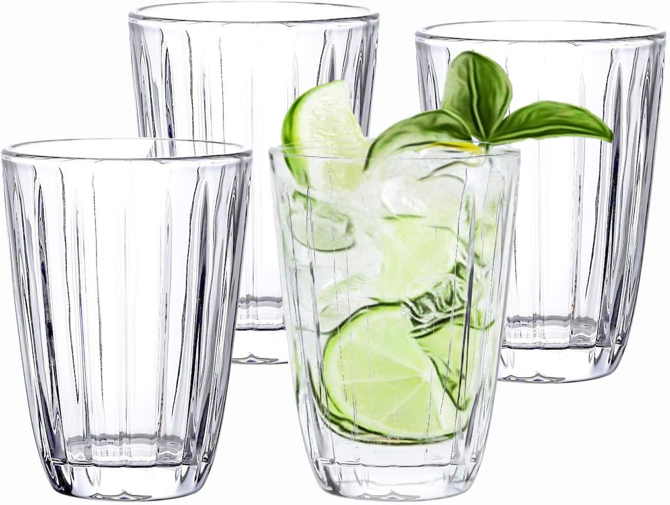 Kingrol 4 Pack Embossed Drinking Glasses, 11.5 oz Romantic Water Glassware, Glass Tumbler Set for Juice, Beverages, Beer, Cocktail, Mixed Drinks