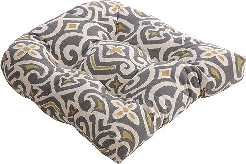 Pillow Perfect Damask Chair Cushion, 19 L x 19 W x 5 D, Gray Greenish-Yellow
