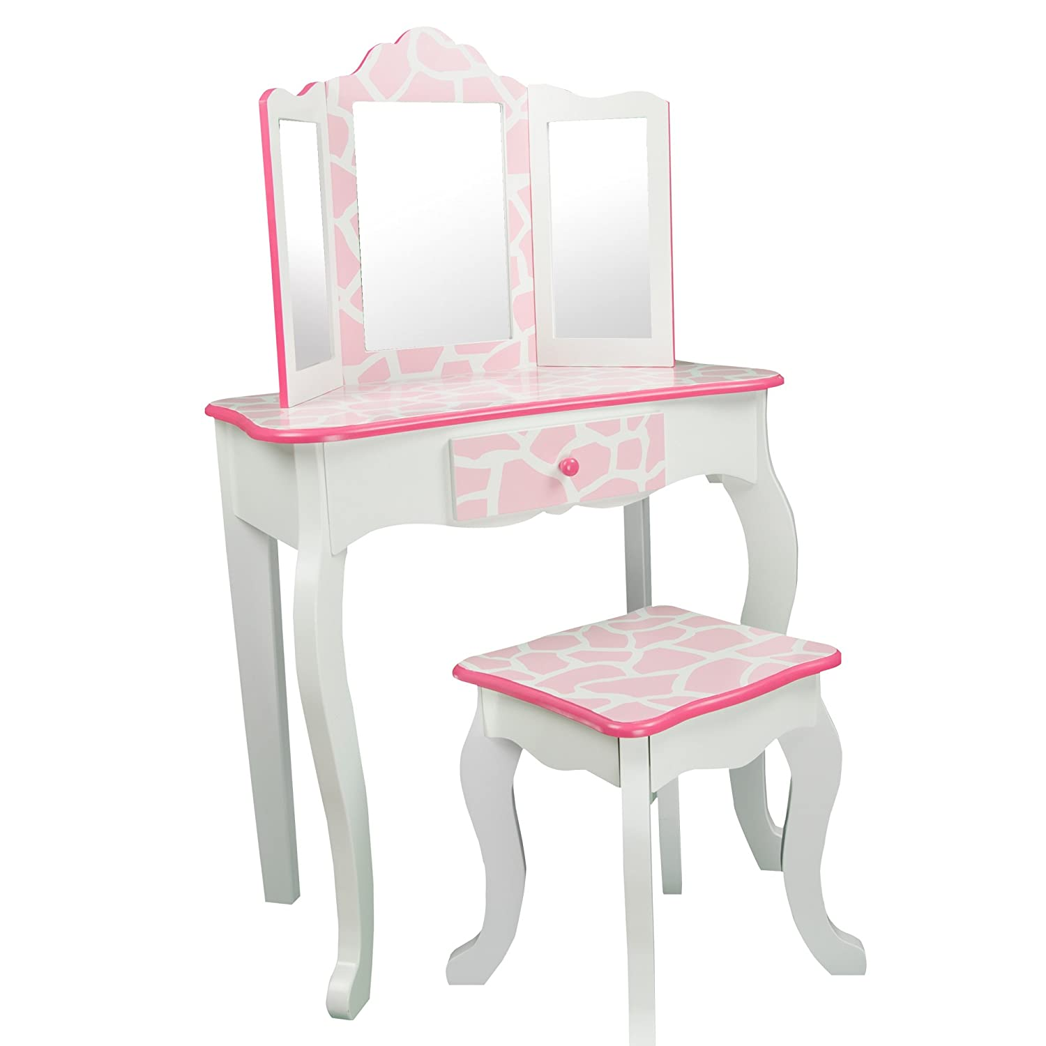 Amazon com  Teamson Kids   Fashion Prints Girls Vanity Table and Stool Set  with Mirror   Giraffe  Baby Pink   White  Toys   GamesAmazon com  Teamson Kids   Fashion Prints Girls Vanity Table and  . Off White Vanity Table. Home Design Ideas