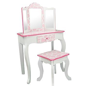 Teamson Kids   Fashion Prints Girls Vanity Table And Stool Set With Mirror    Giraffe (