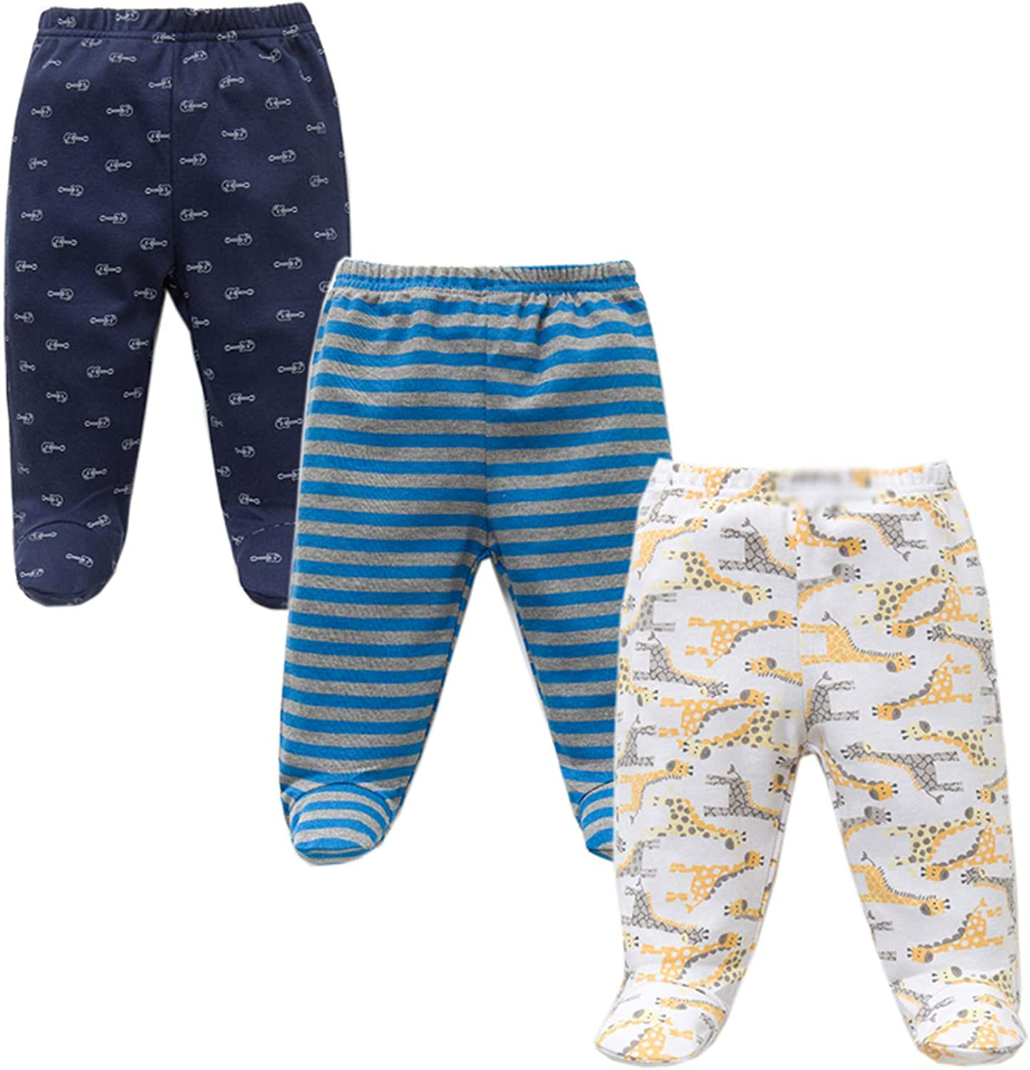 yamed 3PCS//Lot Spring Autumn Footed Baby Pants Cotton Casual Bottom Pants Newborn Baby