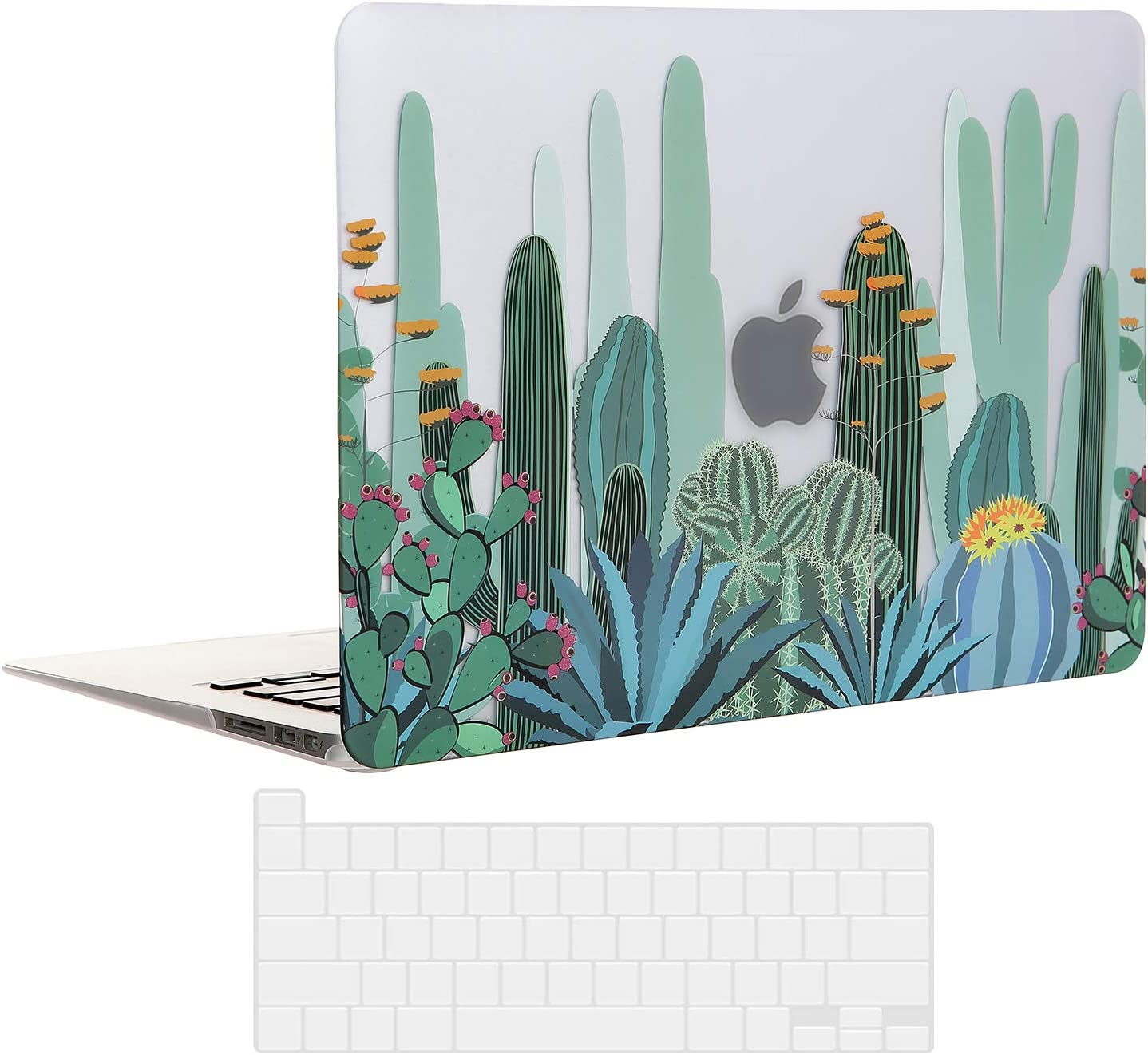 EkuaBot Cactus MacBook Pro 13 inch Case & Transparent Keyboard Cover(A2289/A2251, 2020 Release), Matt Clear Hard Shell Case Only Compatible Newest MacBook Pro 13.3