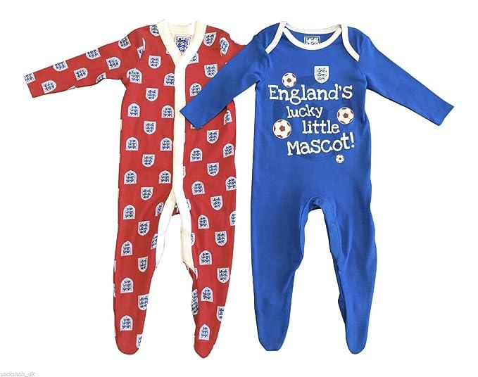 2 Paquete - Niños bebés fútbol de Inglaterra algodón Pelele Pijama Pijama de una Pieza en Rojo y Azul y tamaños de 0-24 Meses: Amazon.es: Ropa y accesorios