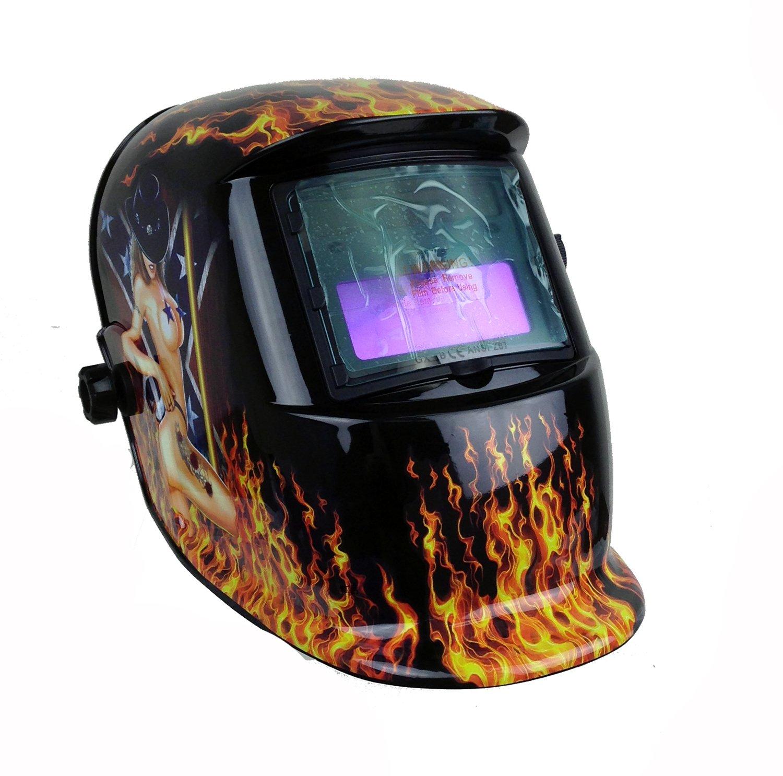 Instapark ADF Series GX-500S Solar Powered Auto Darkening Welding Helmet with Adjustable Shade Range #9 Flamy Hot #13