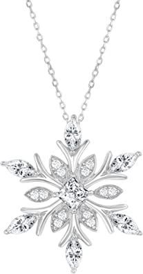 "925 SILVER DIAMOND SNOWFLAKE PENDANT 18/"" STERLING SILVER CHAIN CHRISTMAS"