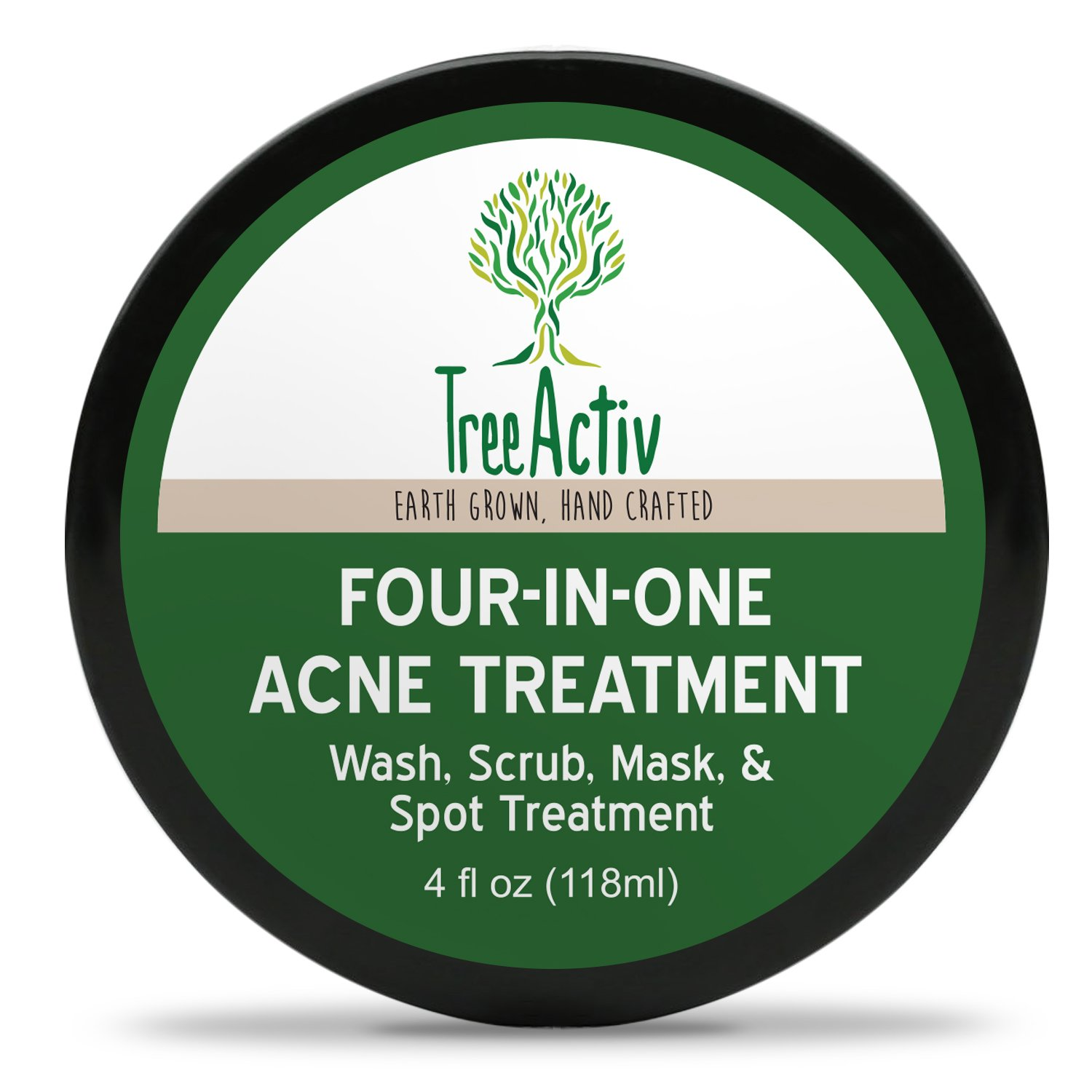 TreeActiv Four-in-One Acne Treatment, Wash, Scrub, Mask, and Spot Treatment, Heals Rosacea, Exfoliating Sugar, Face or Body, Natural Sulfur Clear Skin Cleanser, Bentonite (4 Oz) by TreeActiv