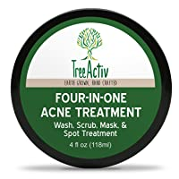 TreeActiv Four-in-One Acne Treatment | Wash, Scrub, Mask, and Spot Treatment | Heals Rosacea | Exfoliating Sugar | Face or Body | Natural Sulfur Clear Skin Cleanser | Bentonite (4oz)